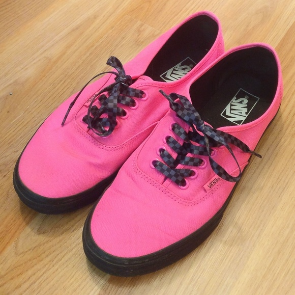 pink vans with black sole